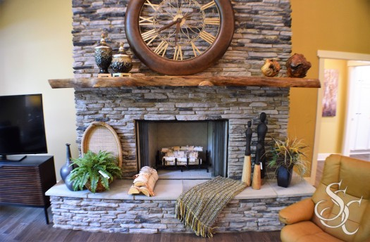 Stone Fireplace with Live Edge Mantel Wood Burning Fireplace